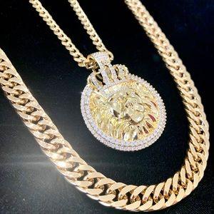 SET LION KING DOUBLE CHAIN CUBAN LINK 18K GOLD